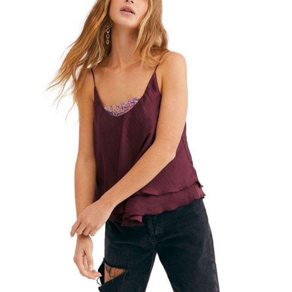 Free People Turn it On Sequin Cami Vetiver Bloom S